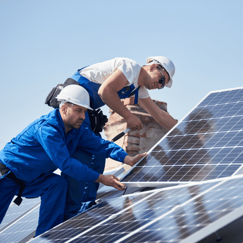 visual image of solar panels being installed